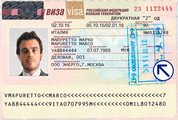 Sample of a visa